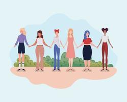 unga kvinnor står tillsammans, mångfaldskoncept