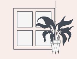 krukväxt i makramehängare vid fönstret vektor