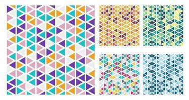 Satz von hellen Farbdreiecken einfaches Muster auf weißem Hintergrund
