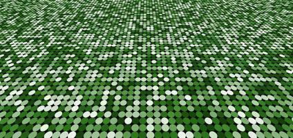 grüner Schimmerperspektivhintergrund des abstrakten Musters mit den glänzenden hellen und dunklen Kreisen. Mosaik Textur. vektor