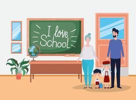 söt familj i klassrummet vektor