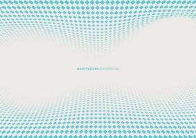 abstrakt dynamisk våg blå fyrkantig halvton på vit bakgrund med plats för din text vektor