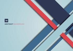 geometrische Form der abstrakten blauen und roten Farbe, die den Hintergrund der 3D-Dimension überlappt. vektor