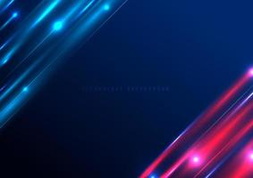 futuristische Beleuchtungseffektgeschwindigkeitsbewegung der abstrakten Technologie auf blauem Hintergrund mit Platz für Ihren Text. vektor
