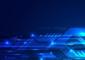abstrakte futuristische digitale Technologie Konzept blau geometrisch mit Lichteffekt Hintergrund vektor