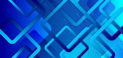 abstrakter blauer Gradientenhintergrund mit geometrischen Quadraten, die kreatives Designtechnologiekonzept überlappen. vektor