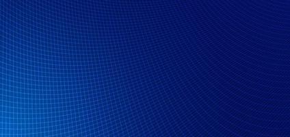 gekrümmtes Muster der abstrakten blauen Liniengittermusterperspektive auf dunkelblauem Hintergrund.