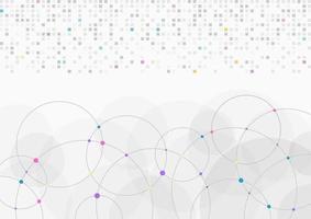 abstrakte Hintergrund hellgrau weiße Pixeldaten und Kreis digitale Übertragung vektor