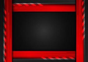 abstrakt teknologikoncept geometrisk svart och röd ram med belysning på mörk bakgrund vektor
