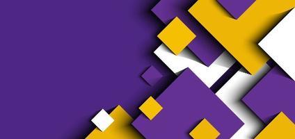 abstrakter Hintergrund 3d lila, gelb, weiße geometrische Quadrate formen Designpapierschnittstil vektor