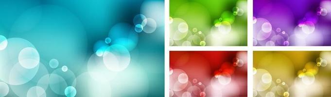 Satz abstrakter unscharfer blauer Himmel, grüne Natur, lila, roter, gelbgoldener Hintergrund mit Bokeh-Lichteffekt. vektor
