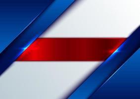abstrakt mall blå blank metallic med glänsande röda ränder på vit bakgrund vektor