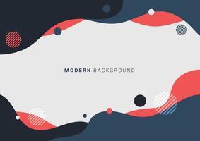 abstrakt modern flytande eller flytande blå, svarta och röda färger med cirklar element platt design på vit bakgrund