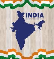 Unabhängigkeitstag der indischen Karte mit hölzernem Hintergrund der Flaggen vektor