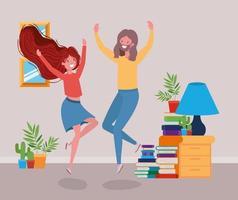 junges Paar tanzt im Wohnzimmer vektor
