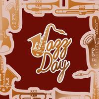 jazz dag affisch med saxofon vektor
