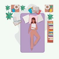 junge Frau, die in der Matratze im Schlafzimmer entspannt