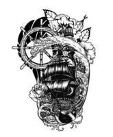 piratskalle med skeppsvektor tatuering handritning