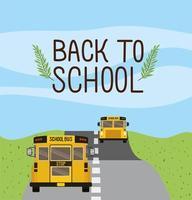skolbusstransport på vägen vektor