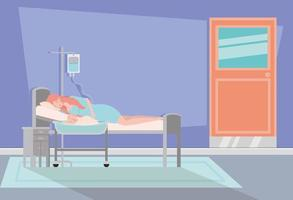 mamma med nyfött barn i sjukhusrum vektor