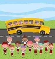 Schulbus mit Kindern unterwegs vektor