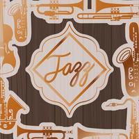 Jazz-Tagesrahmen mit Instrumenten und hölzernem Hintergrund