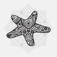 Meerestier Mandala. Vintage dekorative Elemente. orientalisches Muster, Vektorillustration. vektor