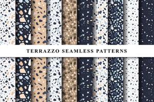 uppsättning terrazzo sömlösa mönster. terrazzo golvmönster. terrazzo sömlösa mönster. samling av terrazzomönster vektor