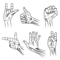 händer finger insamling och gester vektor