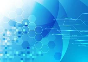 abstrakt teknik digitalt futuristiskt koncept glödande blå geometriska sexhörningar med linje pil bakgrund