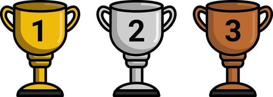 enkel guld silver och brons trofé för 1 2 3 vinnare, perfekt för tävlingsdesign vektor