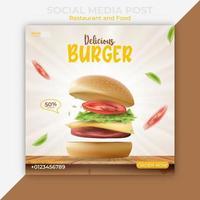 redigerbar mall för sociala medier. hamburgare eller snabbmat-bannerannonser vektor