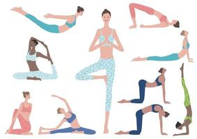 platt illustration uppsättning kvinna gör yogaövningar. vektor ikoner av olika yogapositioner isolerad på en vit bakgrund.