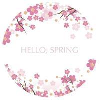 rund vektor bakgrunds illustration med körsbärsblom i full blom isolerad på en vit bakgrund.