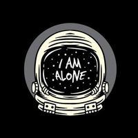 Ich bin allein Weltraumhelm Illustration Bekleidungsdesign vektor
