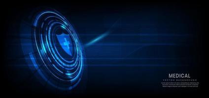 abstraktes medizinisches Gesundheitsinnovationskonzept auf dunkelblauem Hintergrund. Technologiekonzept. vektor