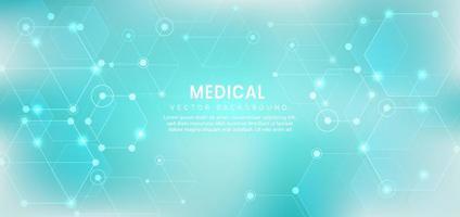 abstrakter Sechseckmuster hellblauer Hintergrund. Medizinisches und wissenschaftliches Konzept. vektor