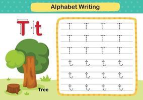 Alphabetbuchstaben-T-Baumübung mit Karikaturvokabularillustration, Vektor