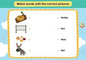 Ordnen Sie Wörter mit der korrekten Bildillustration, Vektor