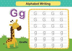 alfabetet bokstaven g-giraff övning med tecknad ordförråd illustration, vektor
