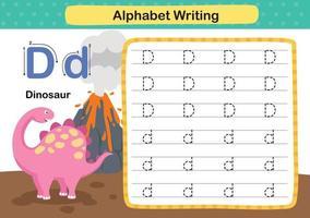alfabetet bokstaven d-dinosaurie övning med tecknad ordförråd illustration, vektor