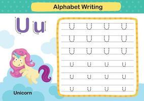 Alphabetbuchstabe u-Einhornübung mit Karikaturvokabularillustration, Vektor