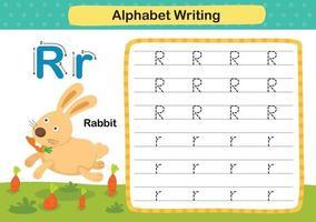 alfabetet bokstaven r-kanin övning med tecknad ordförråd illustration, vektor