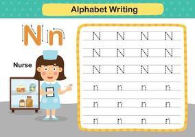 alfabetet bokstaven n-sjuksköterska övning med tecknad ordförråd illustration, vektor