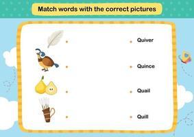 matcha ord med rätt bildillustration, vektor