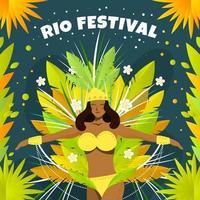 vacker brasiliansk kvinna firar rio festival vektor
