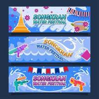 songkran vattenfestival banner designuppsättning