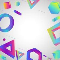 3D geometrisch mit buntem Hintergrund vektor