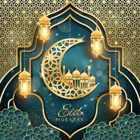 Eid Mubarak mit Halbmond- und Moscheekonzept vektor
