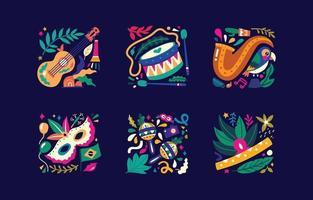 brasilianska rio de janeiro samba parad karneval vektor ikoner designelement